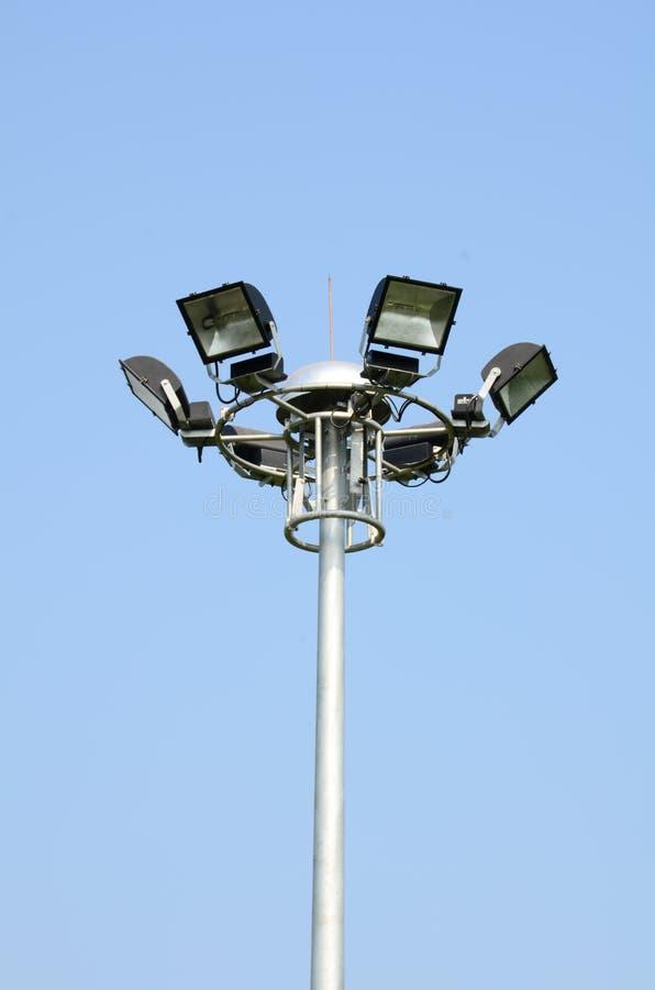 Light poles. Electricity poles installed spot light stock images