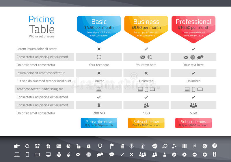 Light pricing table with 3 options. Icon set inclu vector illustration