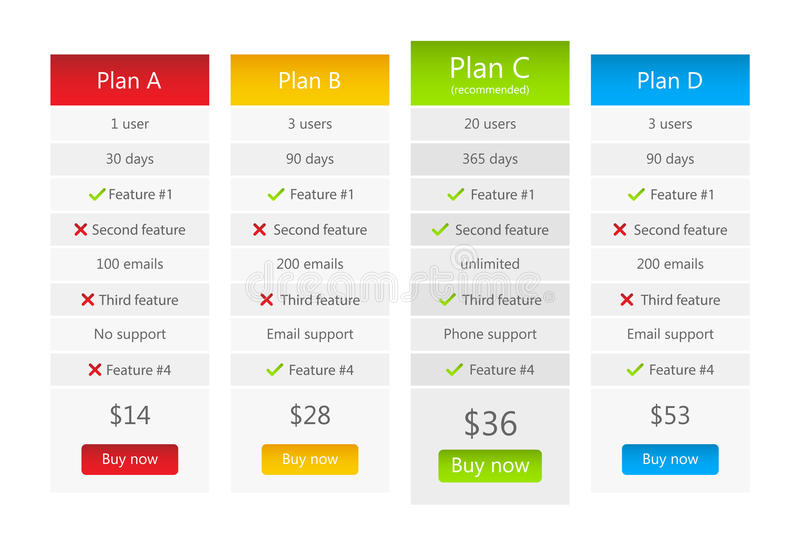 Light pricing table with 4 plans royalty free illustration