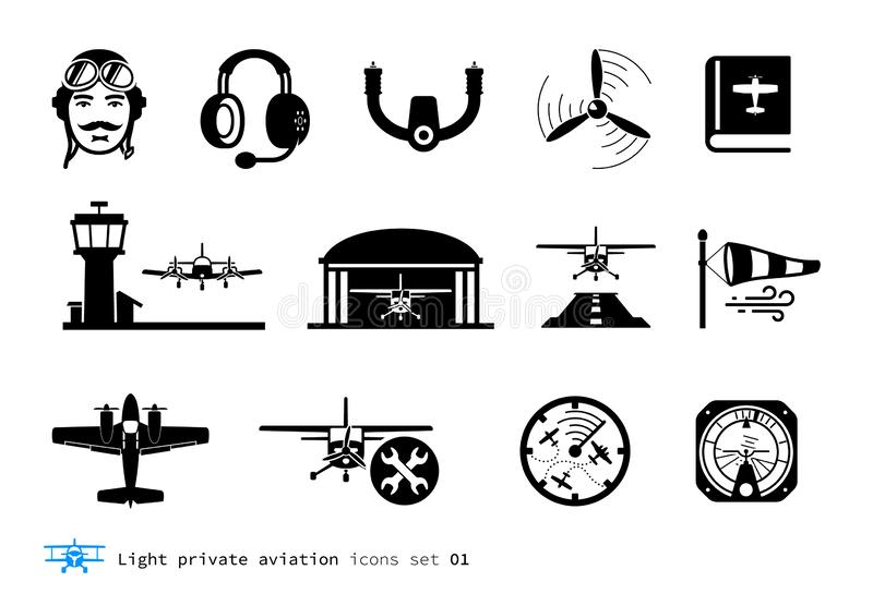 Light private aviation icons. Set. Piston-powered aircraft royalty free illustration