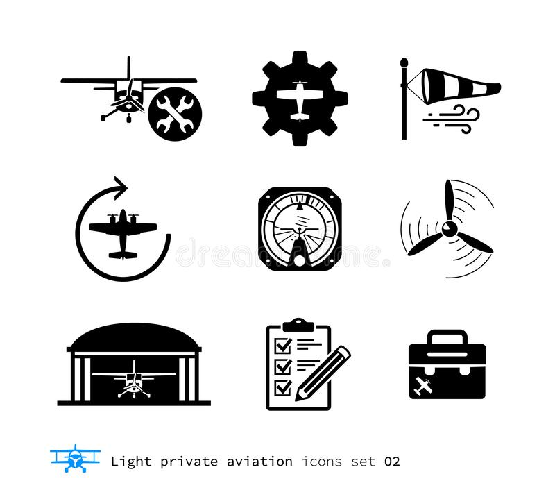 Light private aviation icons set. Piston-powered aircraft stock illustration