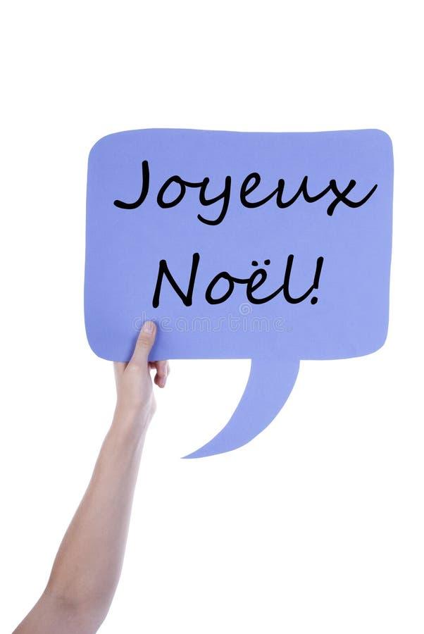 Light Purple Speech Balloon With French Joyeux No�l stock photo