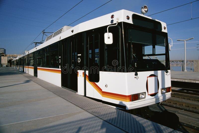 Light rail commuter train. On station royalty free stock image