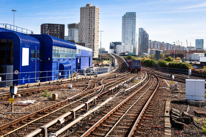 Light Rail Multiple Tracks on a Sunny Fall Day stock image