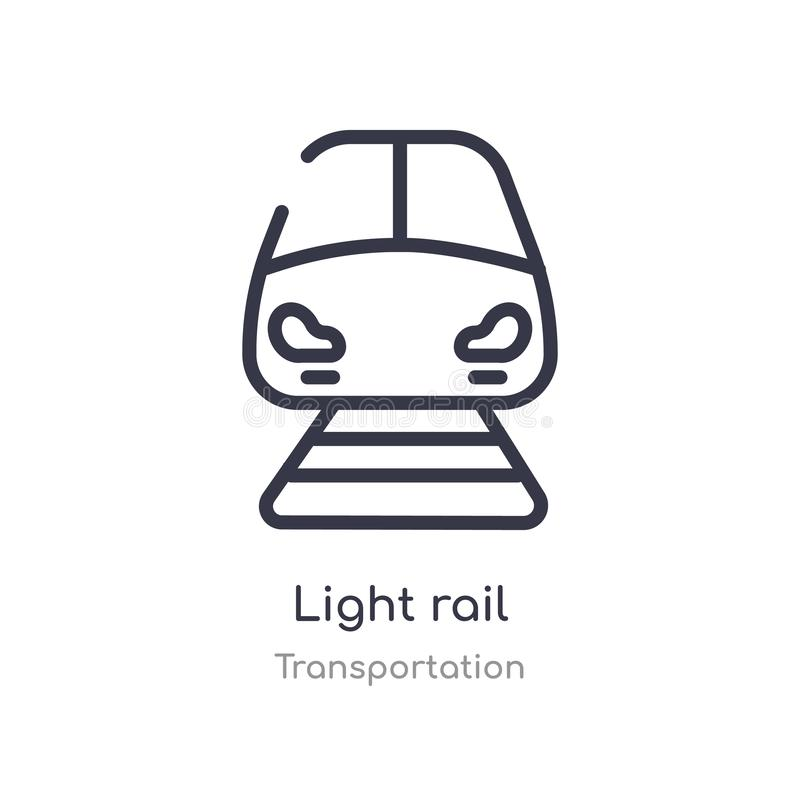 light rail outline icon. isolated line vector illustration from transportation collection. editable thin stroke light rail icon on royalty free illustration