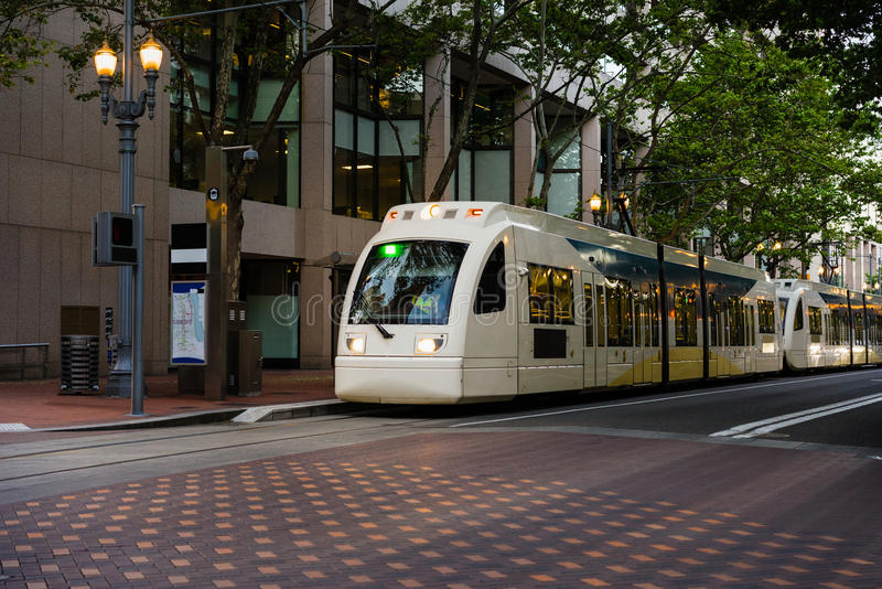 Light rail street cars stock image