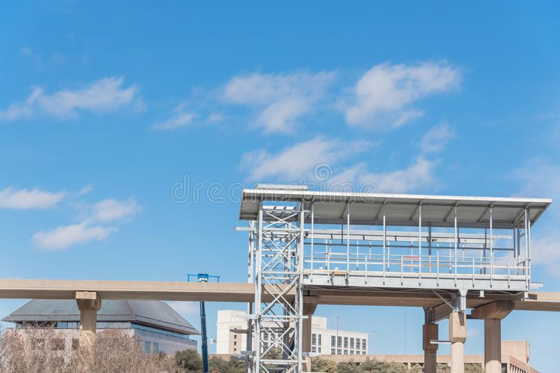 Light rail system station under construction in Las Colinas, Irving, Texas, USA stock images