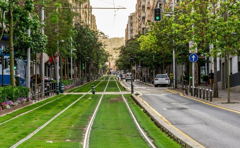 Light rail tracks of Tenerife tram transportation system on one of the streets of Santa Cruz de Tenerife, Canary Islands, Spain stock images