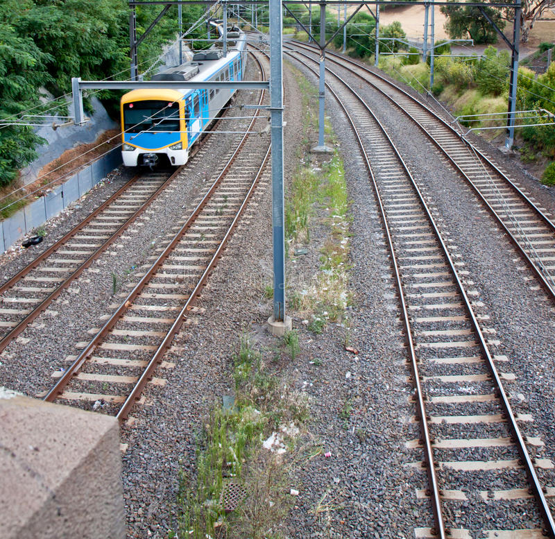 Light Rail Train. In South Yarra, Melbourne, Australia stock image