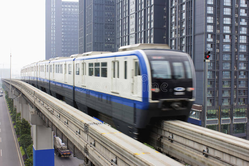 Light rail train. China Chongqing 3 line light rail train. Light rail train shuttle in the city royalty free stock image