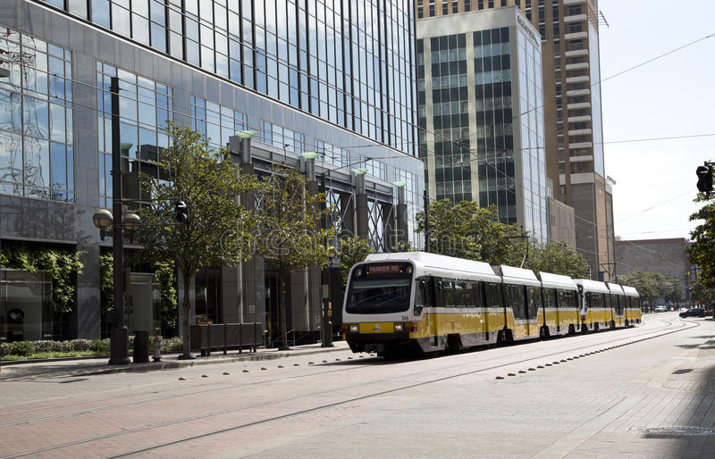 Light rail train on downtown Dallas. TX USA royalty free stock images