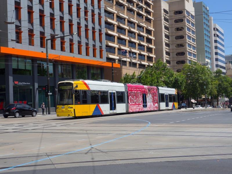 Light rail train services at a centre of Adelaide. ADELAIDE, SOUTH AUSTRALIA. - On November 06, 2018. – Light rail train services at a centre of Adelaide stock photography
