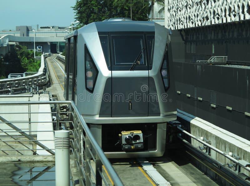 Light rail train In Singapore. City stock photo