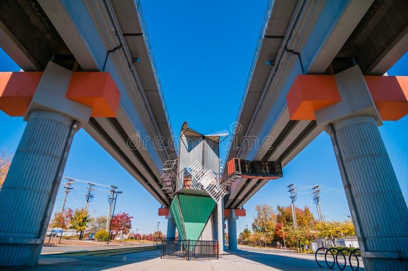 Light rail train station in charlotte. Nc stock image