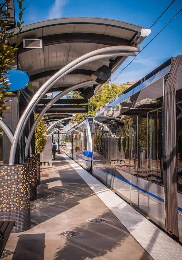 Light rail train system. In downtown charlotte nc stock photo