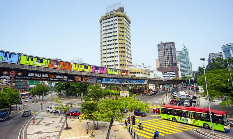 LIGHT RAIL TRANSIT - KUALA LUMPUR. The 29km-long Kelana Jaya Line is the world`s  second longest fully-automated driverless metro system. It is also the longest royalty free stock photos