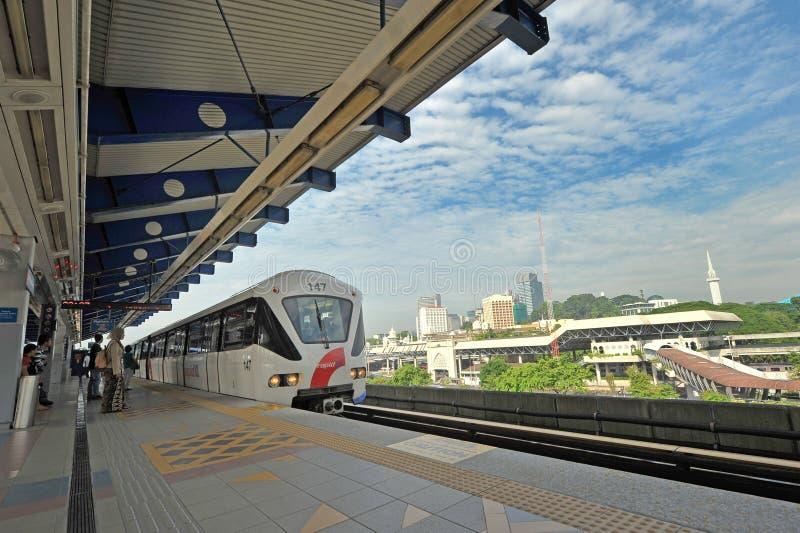 LIGHT RAIL TRANSIT  - KUALA LUMPUR. The 29km-long Kelana Jaya Line is the world`s  second longest fully-automated driverless metro system. It is also the longest royalty free stock images