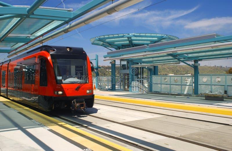 Light rail trolley. At trolley station in San Diego