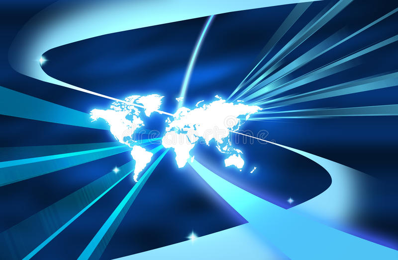 Light ray map. Beautiful background of world with light ray stock illustration