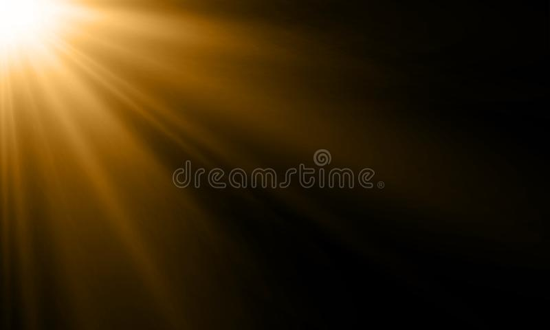 Light ray sun beam vector background. Abstract gold light sparkle flash spotlight backdrop with golden sunlight shine on black vector illustration