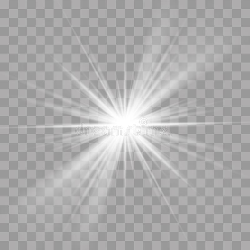 Light rays flash sun star shine radiance effect stock illustration