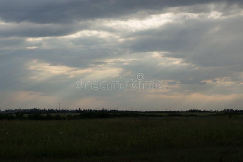 Light rays. Sliver of light, heavensun, sky stock photo