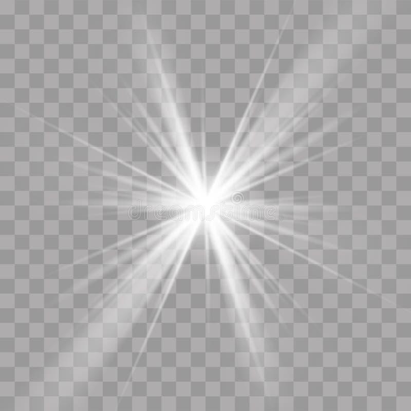 Light rays sun star shine flash radiance effect stock illustration