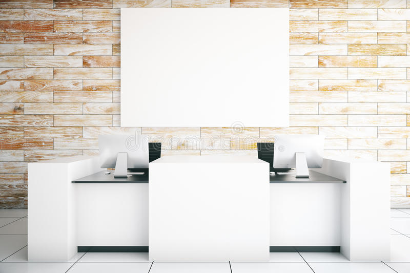 Light reception desk. Modern light reception desk with two computer monitors and blank billboard in room with wooden wall and tile floor. Mock up, 3D Rendering stock illustration