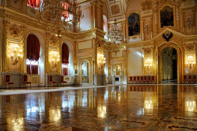 Light Reflections in the Splendid St. Alexander Hall - Grand Kremlin Palace royalty free stock photography