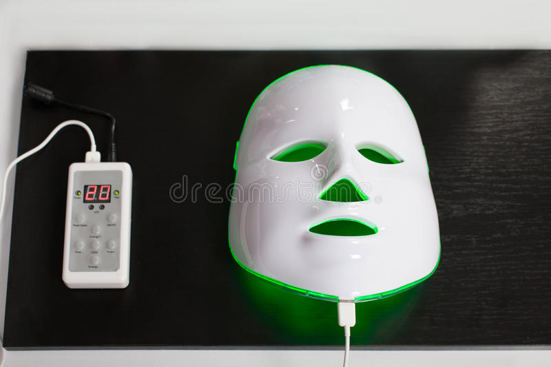 Light rejuvenating mask for facial skin therapy. Light photodynamic rejuvenating mask for facial skin therapy stock photography