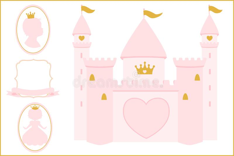 Light rosy pink and gold Princess castle illustration for decoration Invitation card. stock photography
