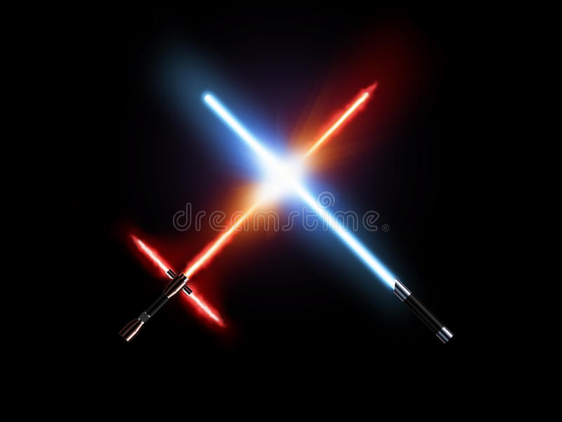 Light saber fight, red and blue isolated on black. royalty free illustration