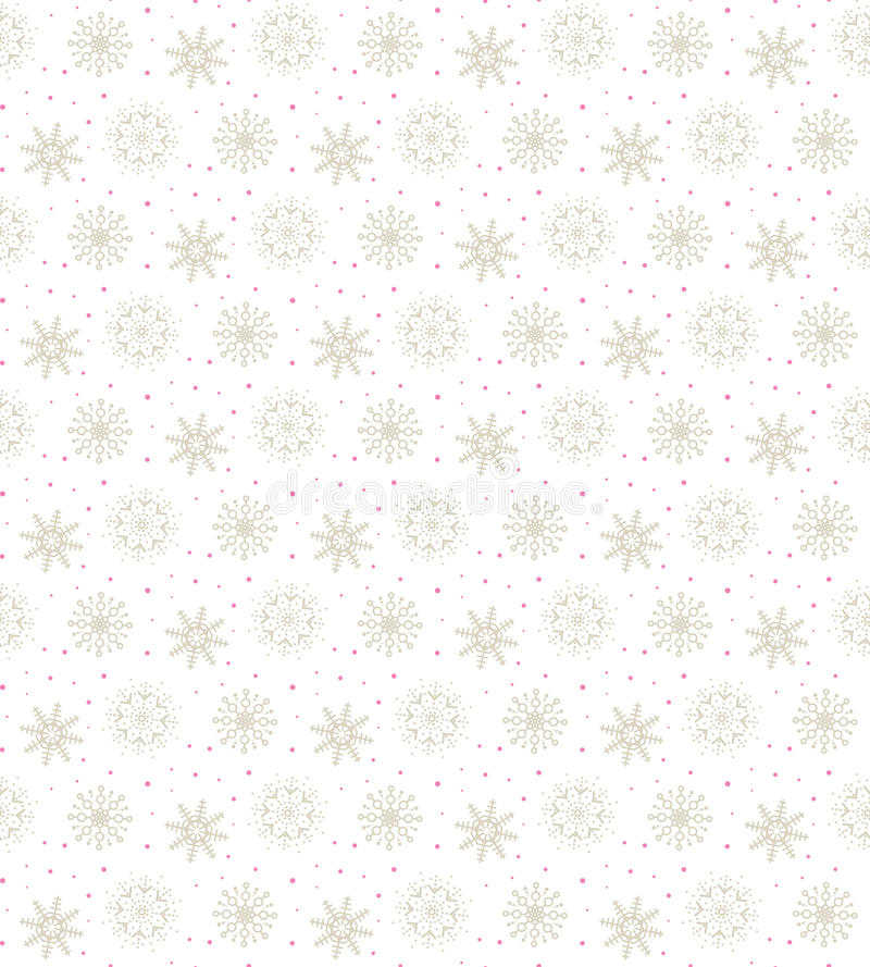 Light seamless gold pattern of many snowflakes on white background. Soft Christmas winter theme for gift wrapping. New Year royalty free illustration