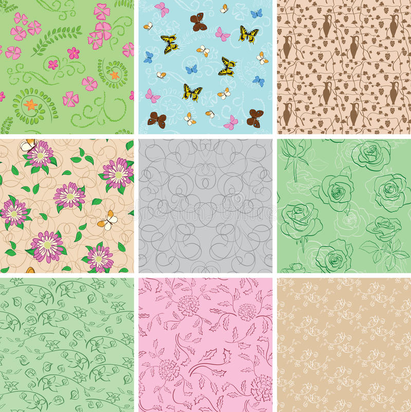 Light seamless patterns with plants and butterflies - set royalty free illustration