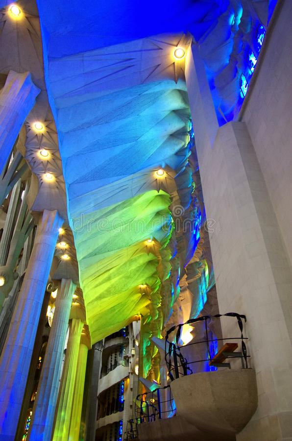 Light and shadow of church glass. Sagrada Familia is the architectural work of the late architect Gaudi, Beautiful lights and shadows appear through the church stock photo