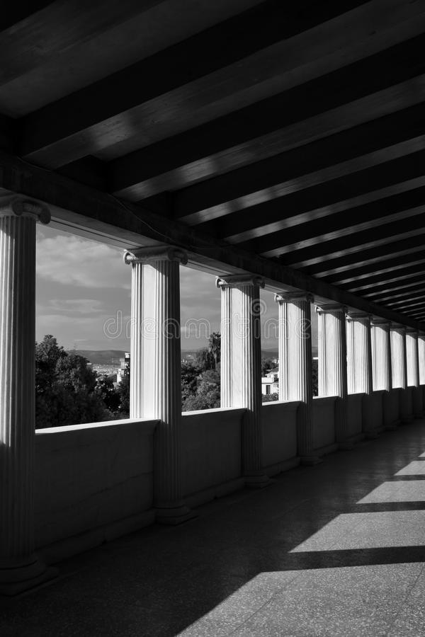 Light and shadow marble columns stock images
