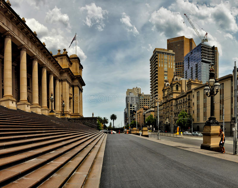 Light and shadow of the streets of Melbourne. Australia. Light and shadow of the streets of Melbourne stock photo