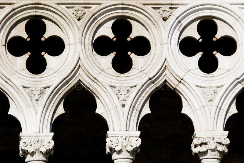 Light & Shadows. Detail / closeup architecture of Palazzo Ducale - playing with Light and Shadows in Piazza San Marco - Venice (Italy 2007 royalty free stock photography