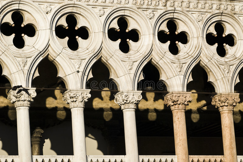 Light & Shadows. Detail / closeup architecture of Palazzo Ducale - playing with Light and Shadows in Piazza San Marco - Venice (Italy 2007 royalty free stock images