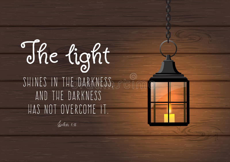 Quotes About Shining Light: The Light Shines In The Darkness... Biblical Quote Stock