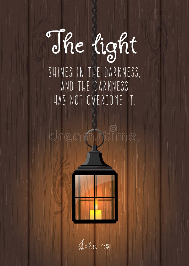 Light Quote Captivating The Light Shines In The Darknessbiblical Quote Stock Vector