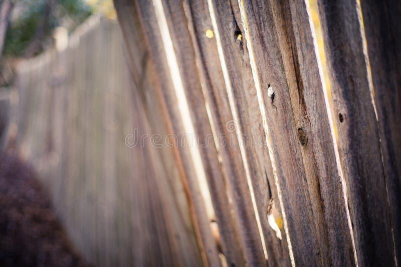 Light shining through old crooked fence. Light shining through long, old crooked privacy fence stock photo