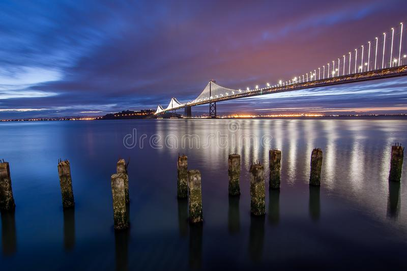 The Light Show of the Bay Bridge stock photo