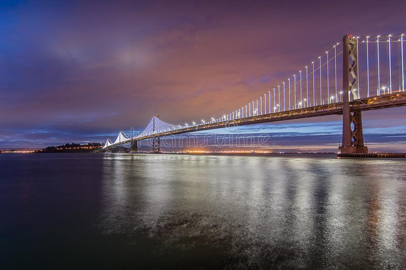 The Light Show of the Bay Bridge stock image