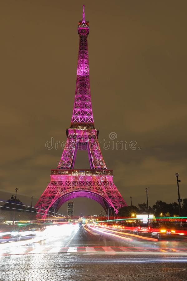 The light show on the Eiffel Tower,on the night of Sept. 13 2018 to celebrate the 160th anniversary of Japan-France royalty free stock images