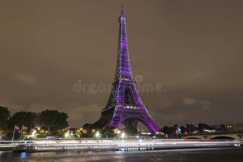 The light show on the Eiffel Tower,on the night of Sept. 13 2018 to celebrate the 160th anniversary of Japan-France royalty free stock image
