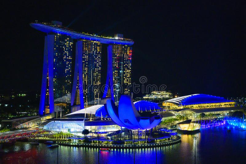 Light show on Marina Bay Sands Hotel and Gardens by the Bay, Singapore. Amazing light show at night, laser show, Singapore stock photography