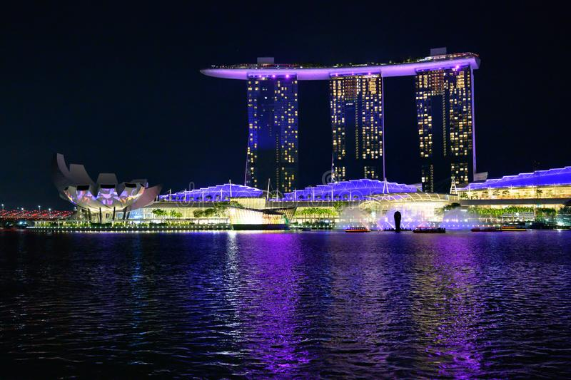 Light show on Marina Bay Sands Hotel, Singapore. Light show at night, laser show, Singapore royalty free stock photo