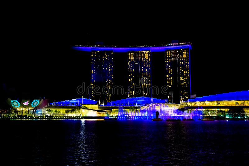 Light show on Marina Bay Sands Hotel, Singapore. Light show at night, laser show, Singapore stock photography