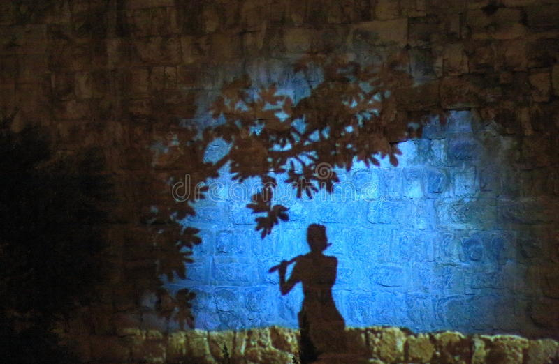 The Light show at the Tower of David stock photo
